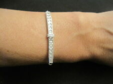 Silver tone Cubic Zirconia Bracelet with Adjustable fit Signed IBB CN