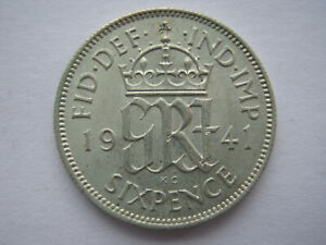 1941 silver Sixpence A UNC