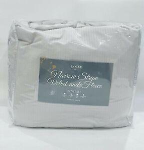 Cozee Home Narrow Stripe Velvet & Fleece 4 Piece Duvet Set Stone Grey Double