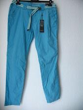 Street One Damen Sommerhose Slim Fit Gr. 42 L32 Ice Aqua mit integriertem Gürtel