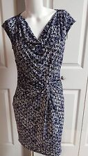 NEW MICHAEL KORS ELEGANT WHITE/BLUE GEOMETRIC STRETCH SLEEVELESS DRESS SIZE XS