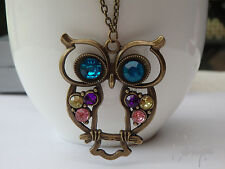 VINTAGE Antique Bronze Rhinestone OWL Pendant Long Necklace With Colorful Stone
