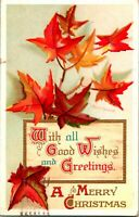 Vtg Postcard Ellen Clapsaddle Artist Signed Merry Christmas Autumn Leaves IAPC