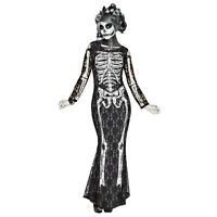 Women's Lacy Bones Skeleton Halloween Day Of The Dead Costume Lace Long Dress
