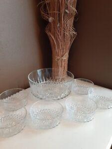 Vintage Arcoroc Salad and Fruit Bowl Set ~ Diamant Pattern ~ 7 Pcs ~ France