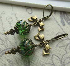 Orecchini Stile Vintage Verde Felce Perline Orecchini Victorian