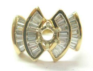 Baguette Diamond Semi Mount Ring 14Kt Yellow Gold 32-Stones 1.28Ct 75Ct Round