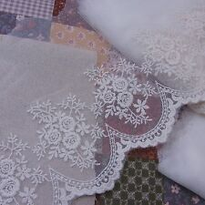 """Rose Embroidery Mesh Net Tulle Lace Trim Ivory 13cm(5.1"""") Wide 1yd"""
