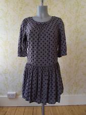 BODEN grey spotted skater mini dress, navy blue spots & gathered skirt, UK 10