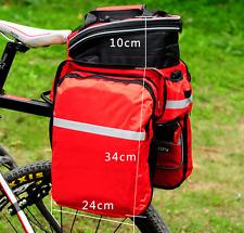 Red Bike Bag Waterproof Rear Rack Pannier Bike Bag Nylon Bicycle Seat Trunk Bag