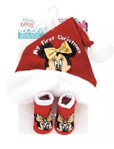 Minnie Mouse My First Christmas Santa Hat and Socks NIP Baby Girl Disney 0-12 Mo