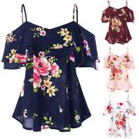 Fashion Women Summer V Neck Tops Blouse Chiffon Floral Cold Shoulder T-Shirt Top