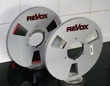 """2 X REVOX BLACK RED BOUNDRY  LOGO METAL NAB HUB REEL TO REELS 10.5"""" X 1/4"""""""