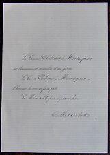 FAIRE PART NAISSANCE, COMTESSE WLODIMIR DE MONTESQUIOU,3 OCTOBRE 1857