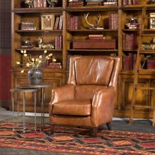 "30"" W Arm Chair Top Grain Leather Medium Brown Solid Wood Legs Traditional"