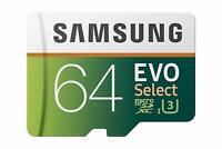 Samsung 64GB 100MB/s U3 MicroSD EVO Select Memory Card With Adapter MB-ME64GA/AM