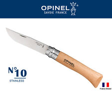 Opinel France No10 Stainless Steel Beech Wood Handle Safety Ring Folding Knife