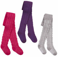 Girls Tights Cotton Rich Plain Cable Knit Warm Knitted Tights 2 3 4 5 6 7 8 Yrs