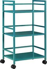 Ameriwood Home Marshall 3-Shelf Metal Rolling Utility Cart, Teal