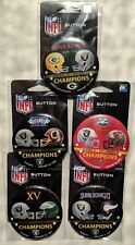Oakland Raiders Super Bowl Contestant Buttons Set Lot of 5 SB 2 11 15 18 37