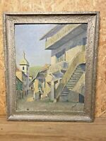 HUILE SUR PANNEAU , F MOREAU,  VUE SUR VILLAGE DE MONTAGNE, PETIT CLOCHER, 1935
