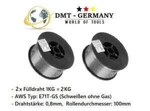 2 x 1KG Fülldraht 0,8mm SCHWEIßDRAHT MIG/MAG  -  OHNE GAS - E71T-GS  FLUX CORED