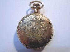 1906 WALTHAM 10k GOLD FILL HUNTER CASE FANCY DIAL POCKET WATCH  AS-IS       1337