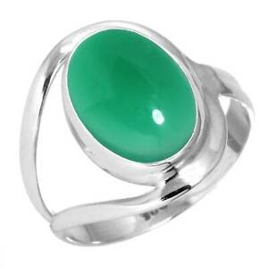 Natural Green Onyx Ring 925 Sterling Silver Handmade Jewelry Size Y bS53411