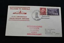 NAVAL COVER 1964 SHIP CANCEL WELCOME NORFOLK ENGLISH SUB HMS DREADNOUGHT (6312)