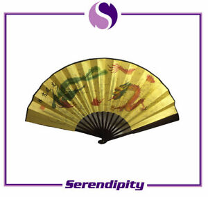 """Chinese Bamboo Folding Fan with Dragon and Phoenix for Wall Decor / Gift 13""""X23"""""""