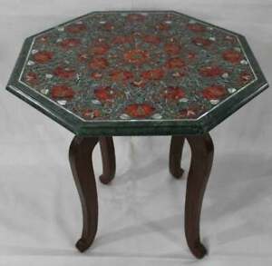 """18"""" Green Marble Table Top semi precious stone Inlay With Wooden Stand"""