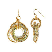 Gold Tone Intricate Circle with Green AB Beads French Hook Dangle Earrings