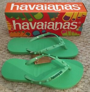 HAVAIANAS SLIM CANDY FLIP FLOPS- GREEN- NEW WITH DEFECTS- SIZES 2.5 TO 8