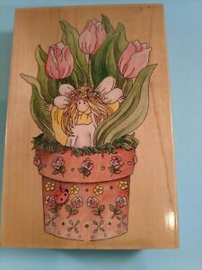 Tulip  80097 Flowers Stamps Happen Wood Mounted Rubber Stamp