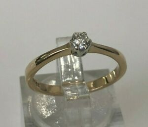 9ct solid gold & 0.12CT Diamond solitaire ring 1.95g size N 1/2 -  6 3/4
