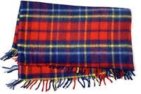 Cannon Vintage Plaid Throw Blanket Cover Fringe Trim Red Blue Tartan Masculine