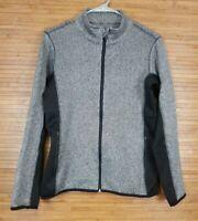 Marc New York MNY Womens Herringbone Black Gray Athletic Jacket sz M Yoga Soft