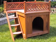 Outdoor Dog House Wooden Room With Stairs For a View Floor Durable House For Pet