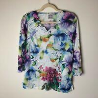 Parsley & Sage Women's Top Size Medium Petite Floral 3/4 Sleeves Watercolors