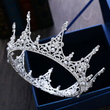 Luxury King Full Round Crown Pearl Crystal Wedding Bridal Party Pageant Prom