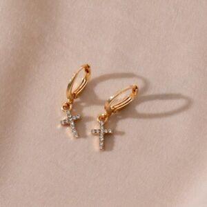 Hoop Huggie Star Cross Gold Diamante Earrings