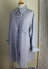"Anne Klein -Sz 3X Gray-Blue Linen 36"" Long Lightweight Lux Layering Tunic Shirt"