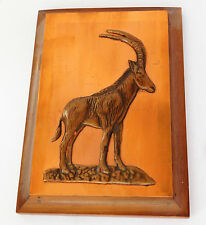 "Vintage African copper ware picture sable antelope wild game animal 7x5"" plaque"