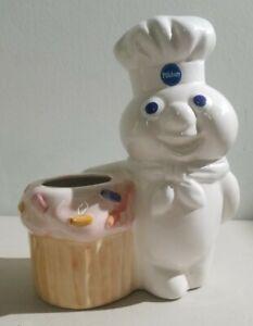 "Pillsbury Doughboy Funfetti Cupcake 8"" Ceramic Kitchen Utensil Holder Vintage"