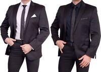 Herren Sakko Anzug Blazer Zweiknopf Jackett Regular Fit Einreiher Casual schwarz