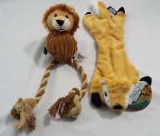 Set of 2 Dog Toys 1 Stuffing Free Chipmunk with Squeakers and 3 in 1 Rope Lion