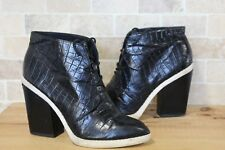 BLACK LEATHER MOC CROC ANKLE HIGH HEEL BOOTS SIZE 7 BY TOPSHOP