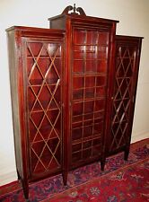 Ultra Choice Edwardian Inlaid Bookcase In Solid Honduran Mahogany-Must See!