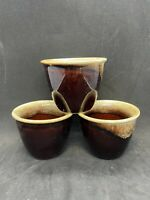 Set Of 3 Vintage Pfaltzgraff Gourmet Brown Drip Egg Coddler Custard Cups EUC