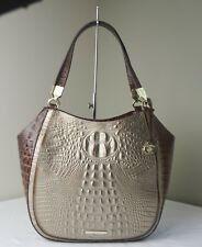 Brahmin Pecan Rose Gold Provence Croco Embossed Marianna Shoulder Tote
